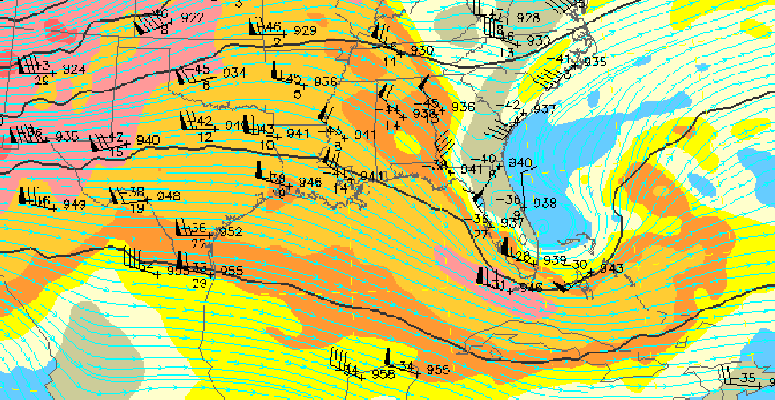 8-hour forecast of pressure and winds