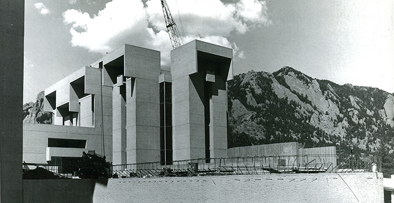 Black and white photograph of concrete construction work at the NCAR Mesa Lab.