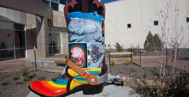 The Cheyenne Big Boots art installation was presented on NWSC grounds on behalf of the Cheyenne community at the conclusion of the grand opening ceremony (for the Wyoming Supercomputing Center).