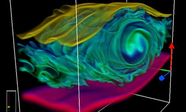 A visualization of a Kelvin-Helmholtz instability using VAPOR