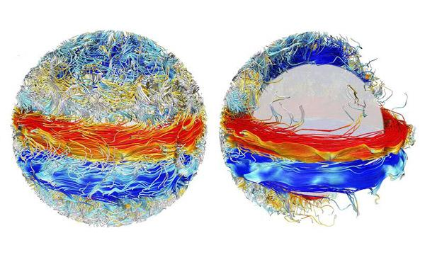 A visualization of the Sun's magnetic fields