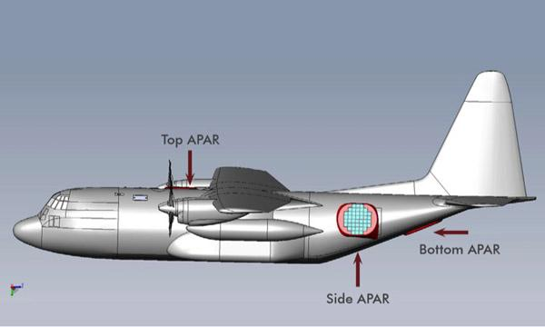 Artist's rendering of APAR system on the C-130