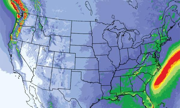 A simulation of weather over North America using WRF