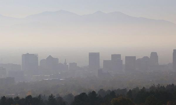 Smog hanging over Salt Lake City, Utah