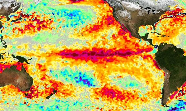 Sea surface temperatures in March 2016