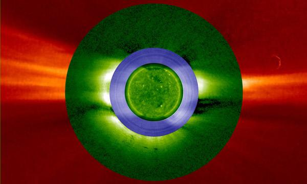 An composite image of the Sun using STEREO-B, Earth-Sun, and STEREO-A.