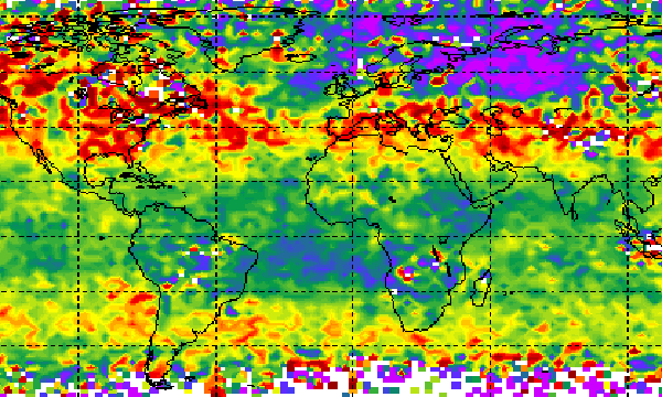 Map showing monthly carbon dioxide in troposphere
