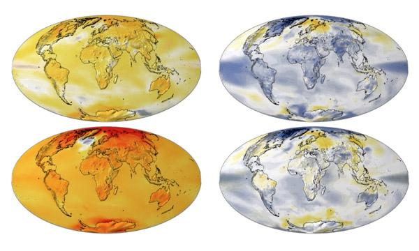 An image that shows Earth's possible future temperature with and without geoengineering