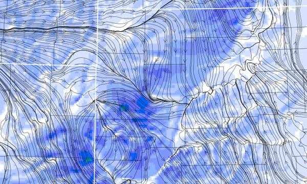 Wind streamlines in WRF