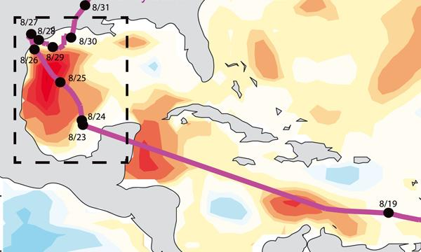 An image of Harvey's track over extremely warm water in the Gulf