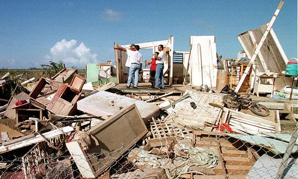 A home destroyed by a hurricane in Puerto Rico
