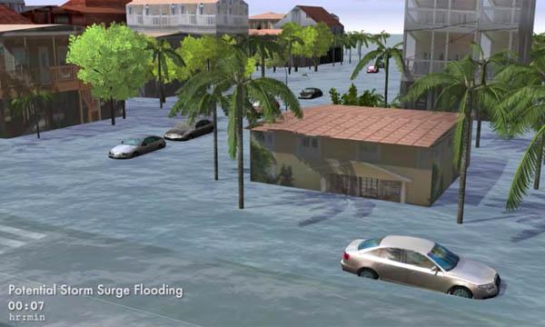 A GIS visualization of storm surge