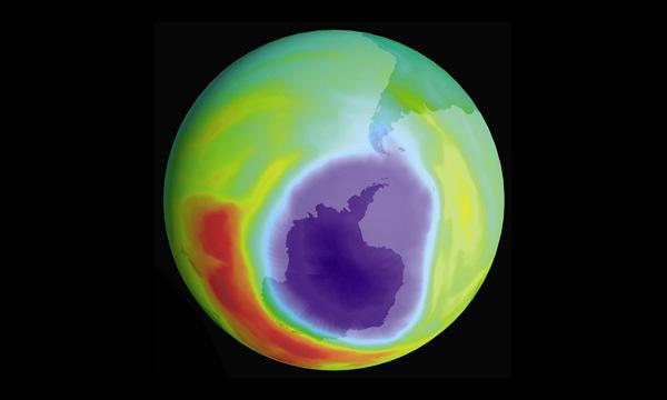 A visualization of the hole in the ozone layer