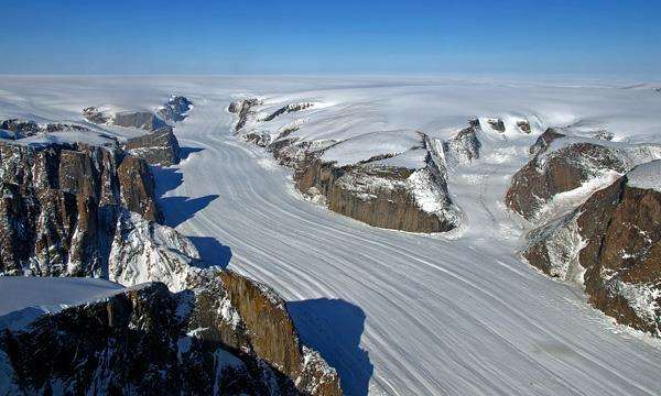 A NASA image of Greenland's ice sheet