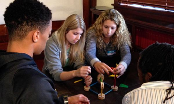 REU students in an ice-breaker activity
