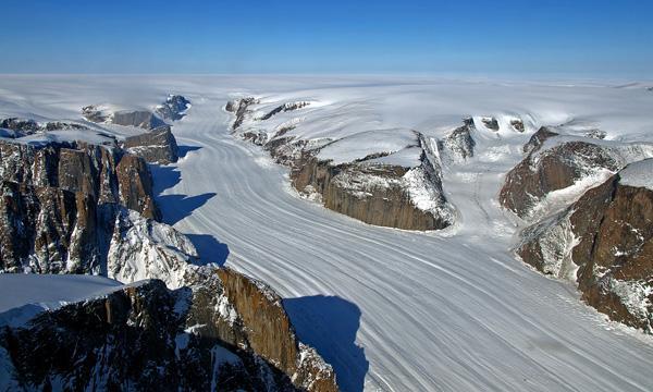 A NASA image of Greenland's ice sheet
