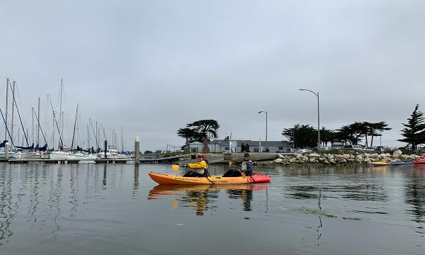 Monterey Bay ocean sciences REU students paddling kayaks in the bay