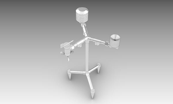 Digital rendering of a 3D-printed weather station