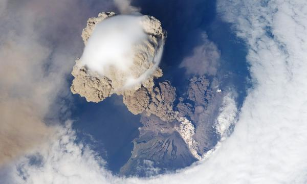 Sarychev Peak Eruption, Kuril Islands as seen from the International Space Station (photo from NASA)