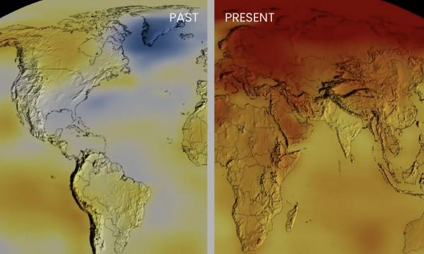 Average temperatures from NASA comparing past (1980-1984) with present (2012-2016)
